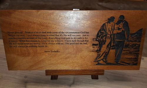 custom wood plaque engraving